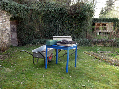 Gartentisch mit Jungpflanzen